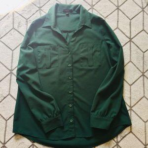 Forest Green Button Up Long Sleeve Shirt